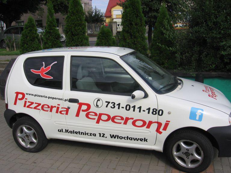 Reklama na samochodach Włocławek Pizzeria Pepperoni